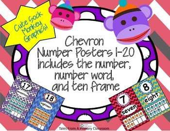 Number Posters 1-20 Chevron Theme. Number, number word, ten frame