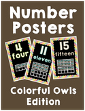 Number Posters 1-20 Colorful Owls Edition