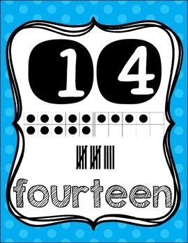 Number Posters {1-20!} English set & Spanish set!! ~ Blue