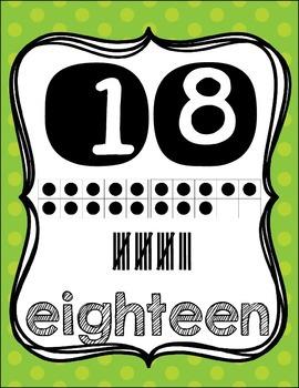Number Posters {1-20!} English set & Spanish set!! ~ Green