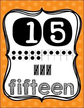 Number Posters {1-20!} English set & Spanish set!! ~ Orange