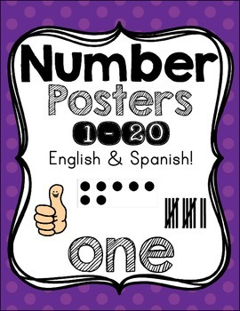 Number Posters {1-20!} English set & Spanish set!! ~ Purple