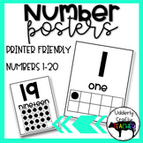 Number Posters | #0-20 |  FREEBIE!