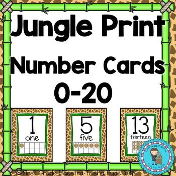 Number Posters 1-20 Giraffe Jungle Print Theme