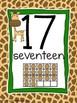 Number Posters 1-20 Giraffe Print Theme with Giraffe on Each Slide