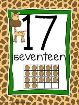 Number Posters 1-20 Giraffe Theme with Giraffe on Each Slide