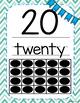 Number Posters 1-20 Aqua Chevron
