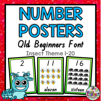 Number Posters 1-20 Insect Theme QLD Beginners Font