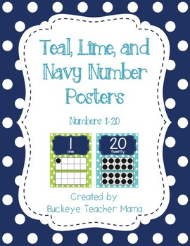 Number Posters 1-20- Lime Green and Aqua Polka Dot