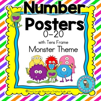 Number Posters 0-20 Monster Theme