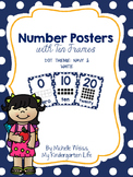 Number Posters 1-20 Navy & White Dots