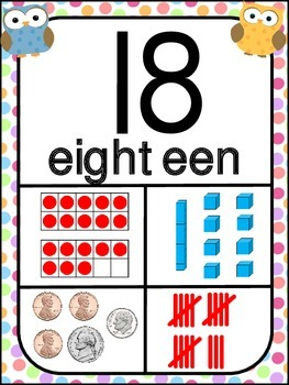 Number Posters 1-20 ~ Owl Theme