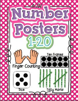 Number Posters 1 20 Polka Dot Tally Dice Ten Frame