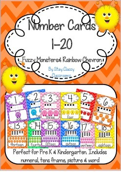 Number Posters 1-20 ~ Rainbow Chevron & Fuzzy Monsters