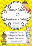 Number Posters 1-20 ~ Rainbow Chevron & Superheroes