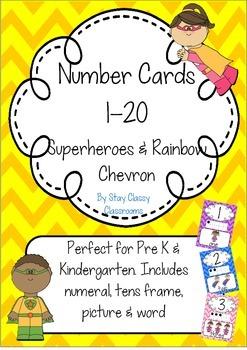 Number Posters 1-20 ~ Rainbow Chevron & Superheroes