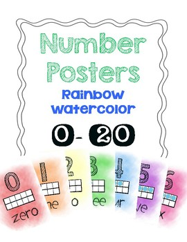 Rainbow Watercolor Number Posters (1-20)