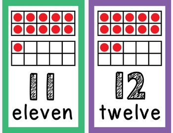 Number Posters 1-20 Ten Frames in Bright Colors