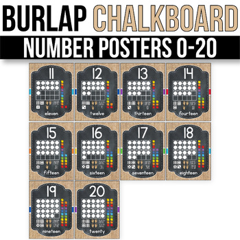 Number Posters 1-20 With 10 Frames - EDITABLE, Burlap Chalkboard Classroom Decor