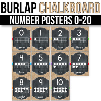 Number Posters 1-20 With 10 Frames - EDITABLE, Burlap Chalkboard Classroom Theme
