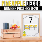 Number Posters 1-20 With 10 Frames - EDITABLE, Pineapple Classroom Theme