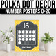 Number Posters 1-20 With 10 Frames EDITABLE Polka Dot Chalkboard