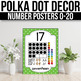 Number Posters 1-20 With 10 Frames - EDITABLE, Polka Dot Classroom Decor V2