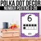 Number Posters 1-20 With 10 Frames - EDITABLE, Polka Dot Classroom Theme