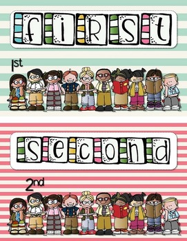 Number Posters (1-20) With Ordinal Mini Posters with a Striped Theme (Bundle)