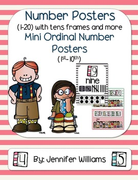 Number Posters (1-20) With Ordinal Mini Posters with a Str