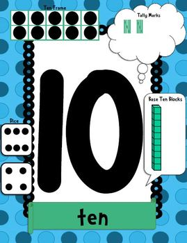 Number Posters 0-20 (Word, Ten Frames, Tally Marks, Base Ten Blocks and Dice)