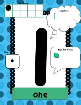 Number Posters 0-20 (Word, Ten Frames, Tally Marks, Base T
