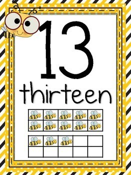 Number Posters 1-20 Yellow and Black Bee Theme