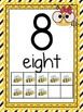 Number Posters 0-20 Yellow and Black Bee Theme