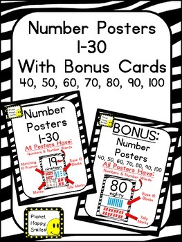 Number Posters 1-30 Plus Bonus Cards ~ Zebra