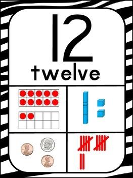 Number Posters 1-20 ~ Zebra Print