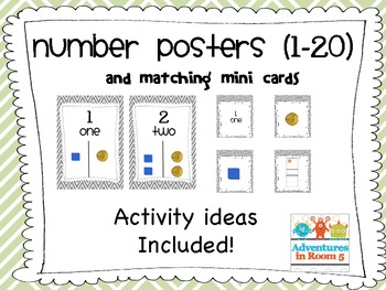 Number Posters 1-20 and Matching Mini Number Cards