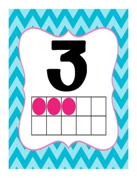 Number Posters 1 - 20 in Blue and Pink Chevron