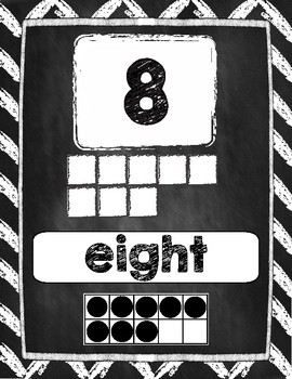 Number Posters 1-20 in Chalkboard Chevron Style 2