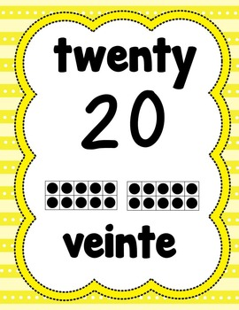 Number Posters 1-20 in English/Spanish (Yellow)