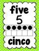 Number Posters 1-20 in English/Spanish (Green Polka Dots)