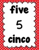 Number Posters 1-20 in English/Spanish (Red Polka Dots)