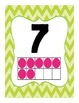 Number Posters 1 - 20 in Green and Pink Chevron