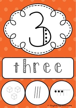 Number Posters 1-20 plus decades 30-100 ~ Rainbow Spotty