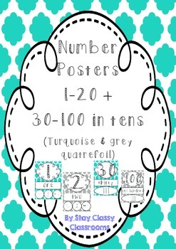 Number Posters 1-20 plus decades 30-100 ~ Turquoise & Grey