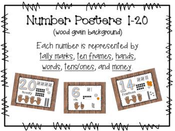 Number Posters 1-20 (wood grain)