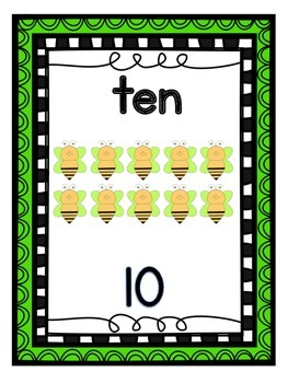 Number Posters 1-30 Busy Bee Theme