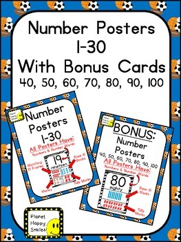 Number Posters 1-30 Plus Bonus Cards ~ Sport Theme