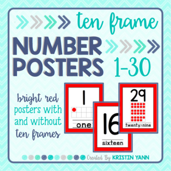 Number Posters 1 - 30: Red