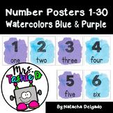 Number Posters 1-30 (Watercolors Blue & Purple)
